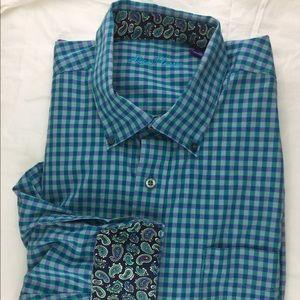 Alan Flusser Mens Blue Plaid Flip Cuff Button Up